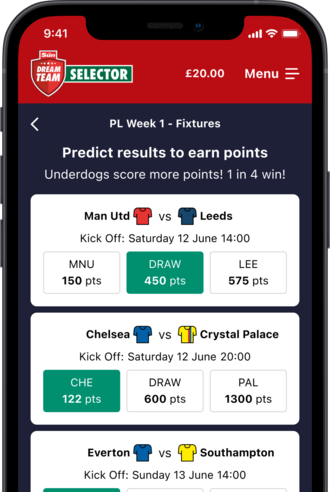 Iphone with screenshot of Dream Team predictor game