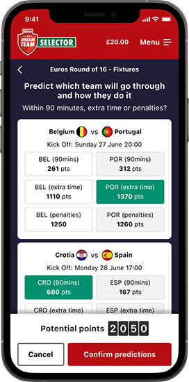 Predict results to earn points